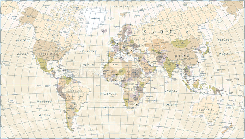 Винтажная карта мира - иллюстрация вектора иллюстрация вектора