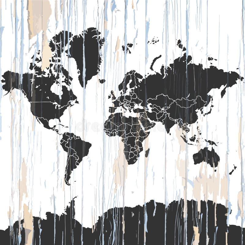 Винтажная карта мира на деревянной предпосылке иллюстрация вектора