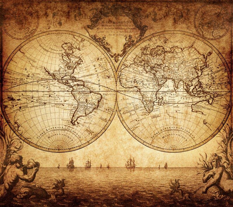 Винтажная карта мира 1733 стоковая фотография