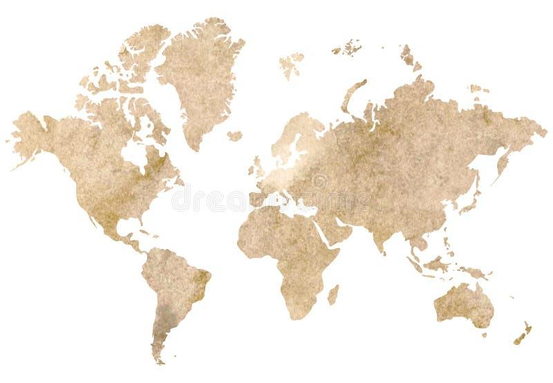 Винтажная карта мира иллюстрация штока