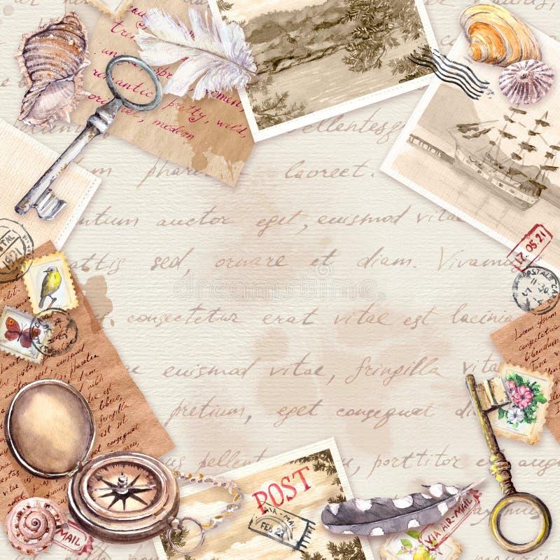 Винтажная карта перемещения, пробел Достигшая возраста бумага, компас, рука написанные письма, старые ключи, печати, уплотнения,  иллюстрация штока