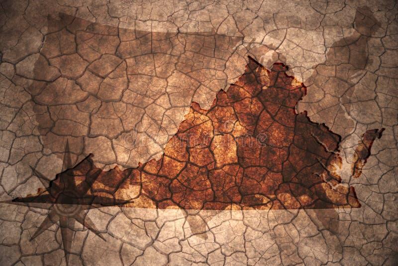 винтажная карта положения Вирджинии стоковое фото rf