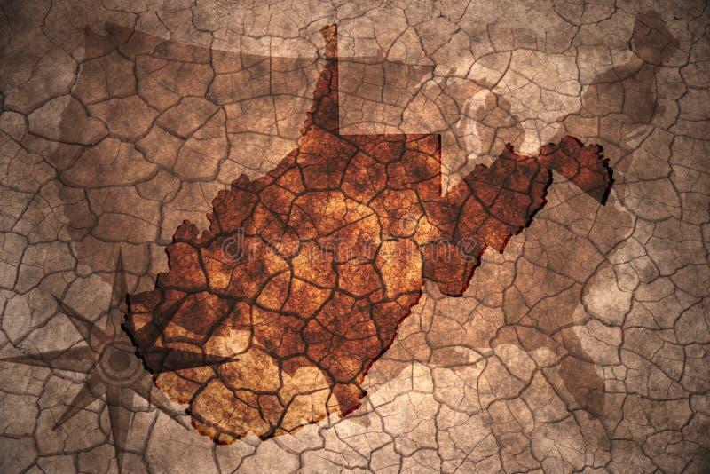 винтажная карта положения Западной Вирджинии стоковая фотография rf