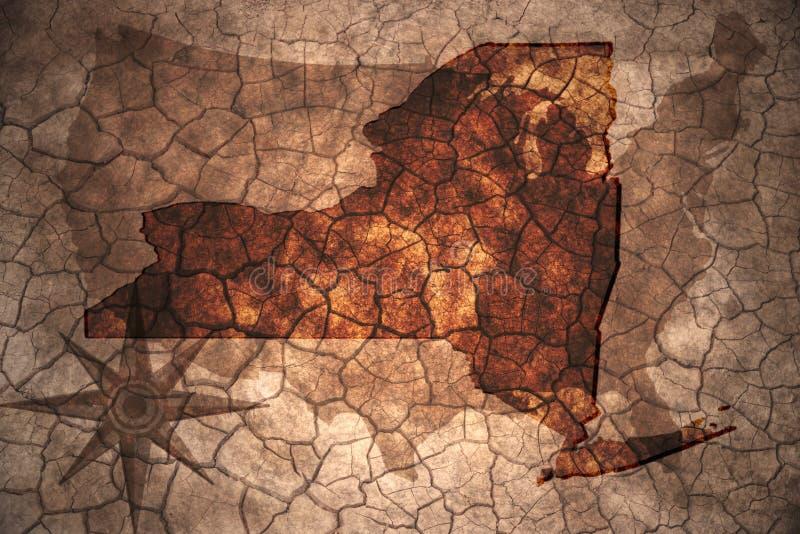 винтажная карта штат Нью-Йорк иллюстрация штока
