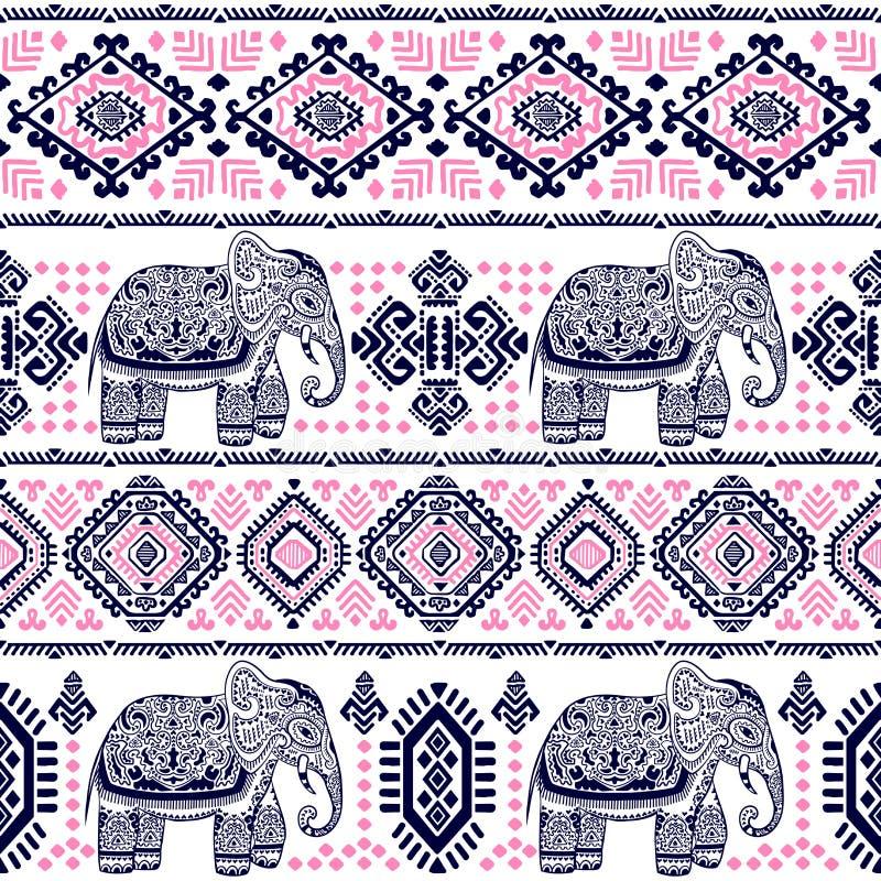 Винтажная картина индийского слона безшовная с племенными орнаментами бесплатная иллюстрация