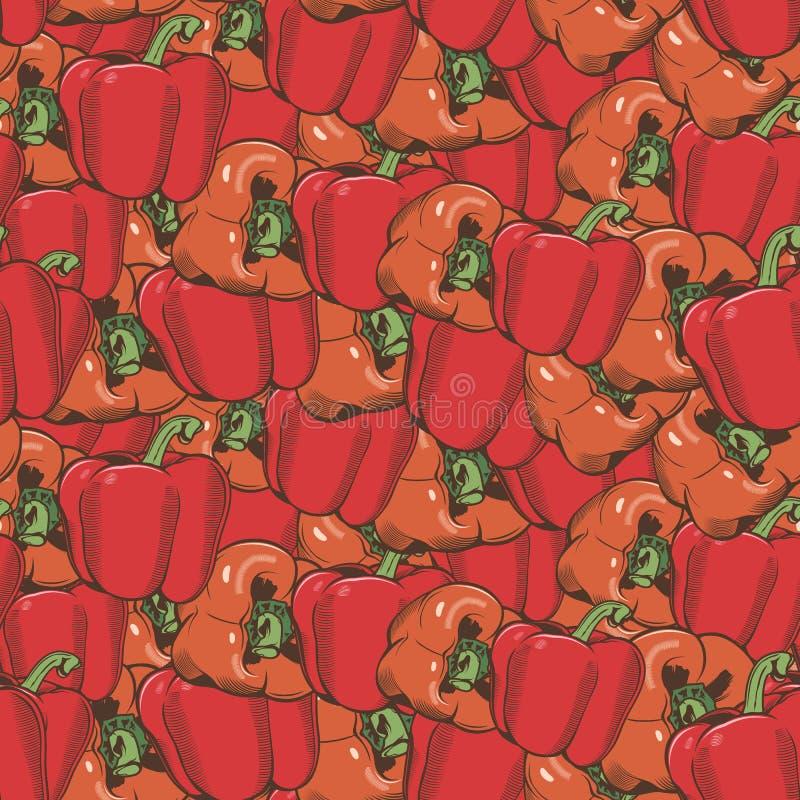 Винтажная картина красного перца безшовная бесплатная иллюстрация
