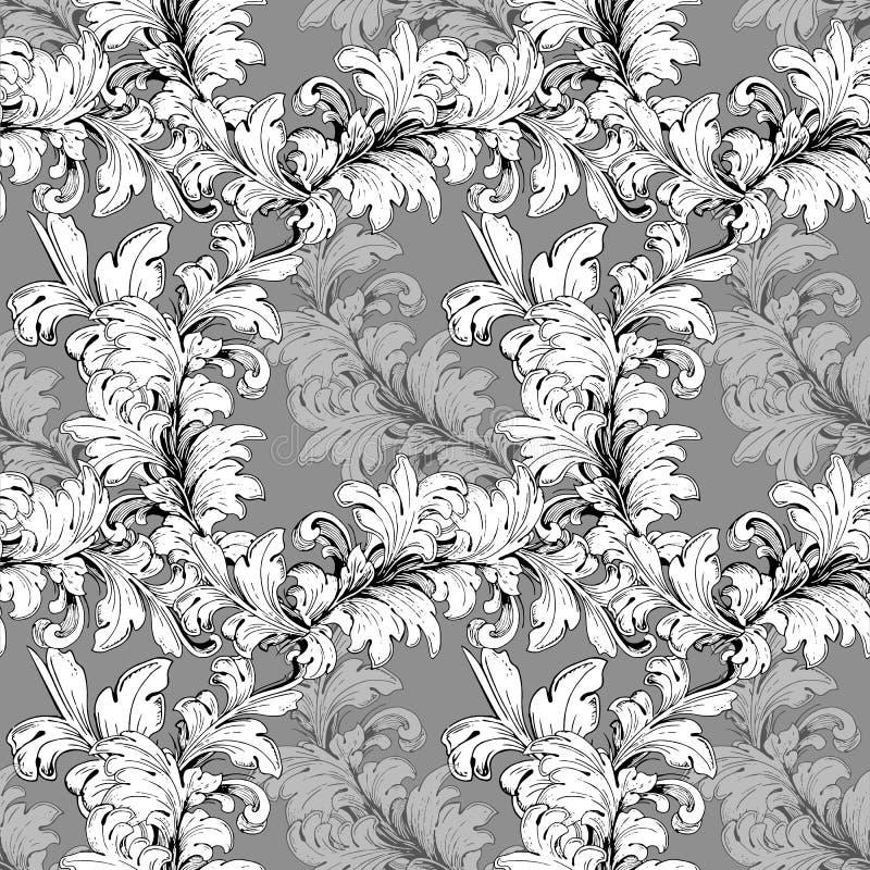 Винтажная картина цветка ( Орнаментальная текстура с цветками Скороговорка штофа притяжки руки вектора для поздравительных открыт бесплатная иллюстрация