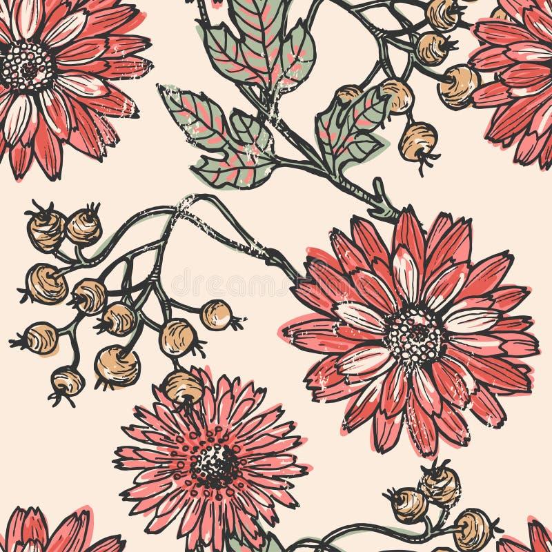 Винтажная картина цветков и ягод безшовная иллюстрация вектора