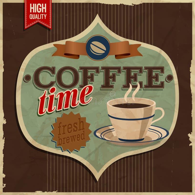 Винтажная карточка - время coffe. бесплатная иллюстрация