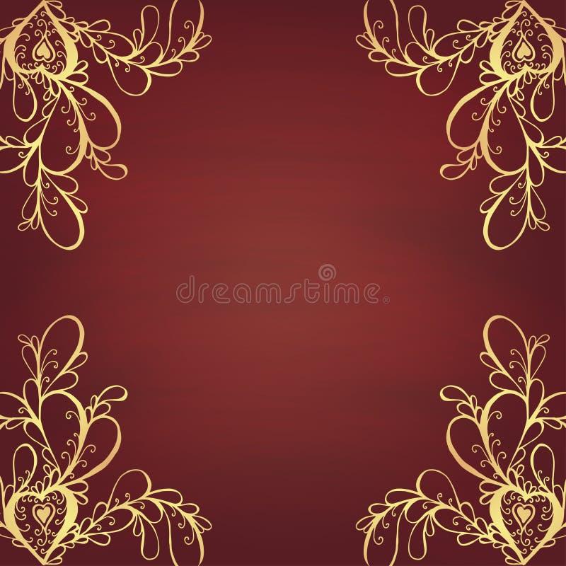 Винтажная карточка поздравлениям с орнаментом шнурка иллюстрация штока