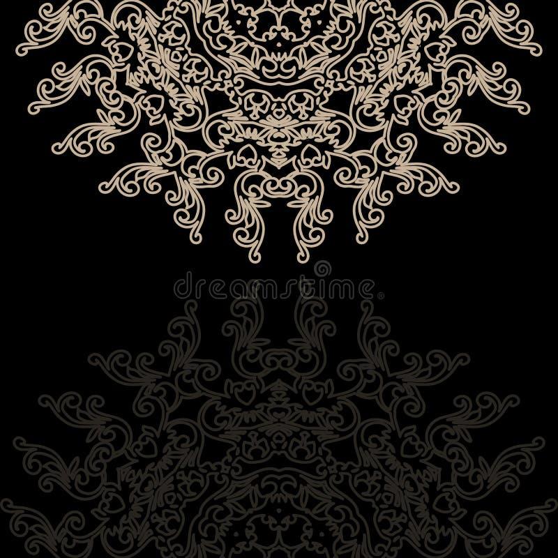 Винтажная карточка приглашения на предпосылке grunge с орнаментом шнурка иллюстрация вектора