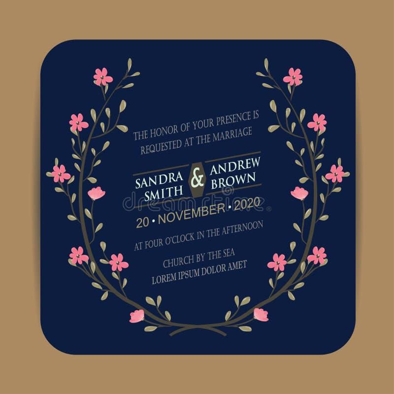 Винтажная карточка приглашения свадьбы иллюстрация штока