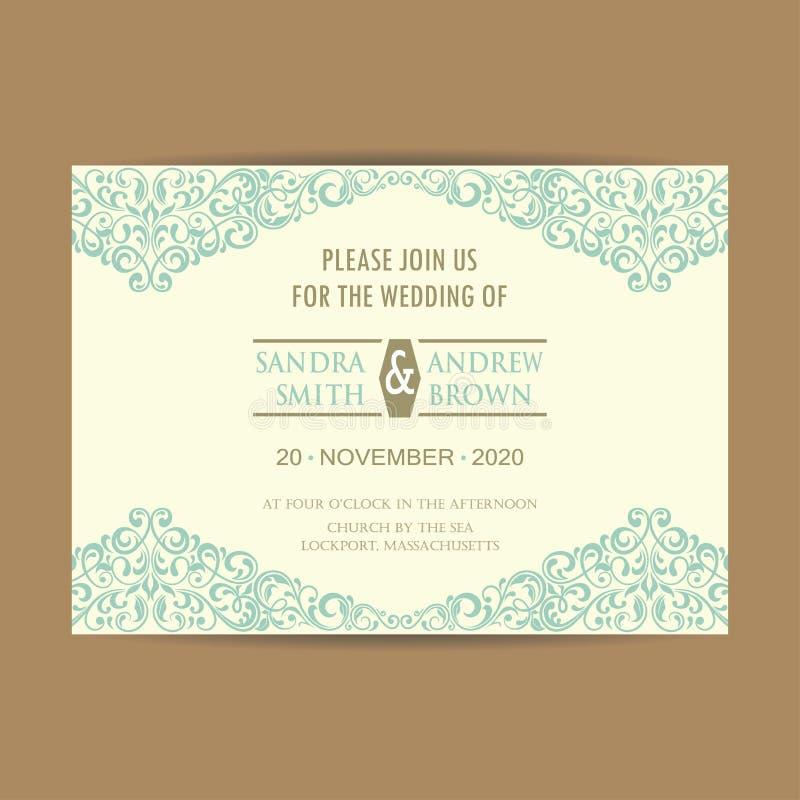 Винтажная карточка приглашения свадьбы иллюстрация вектора
