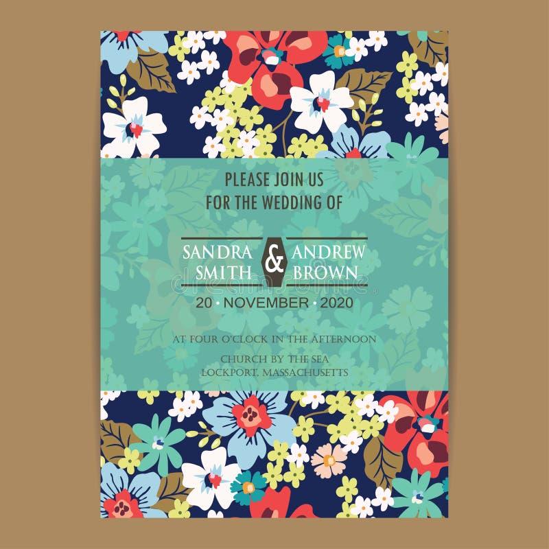 Винтажная карточка приглашения свадьбы бесплатная иллюстрация