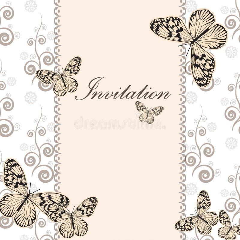 Винтажная карточка приглашения с белой бабочкой бесплатная иллюстрация