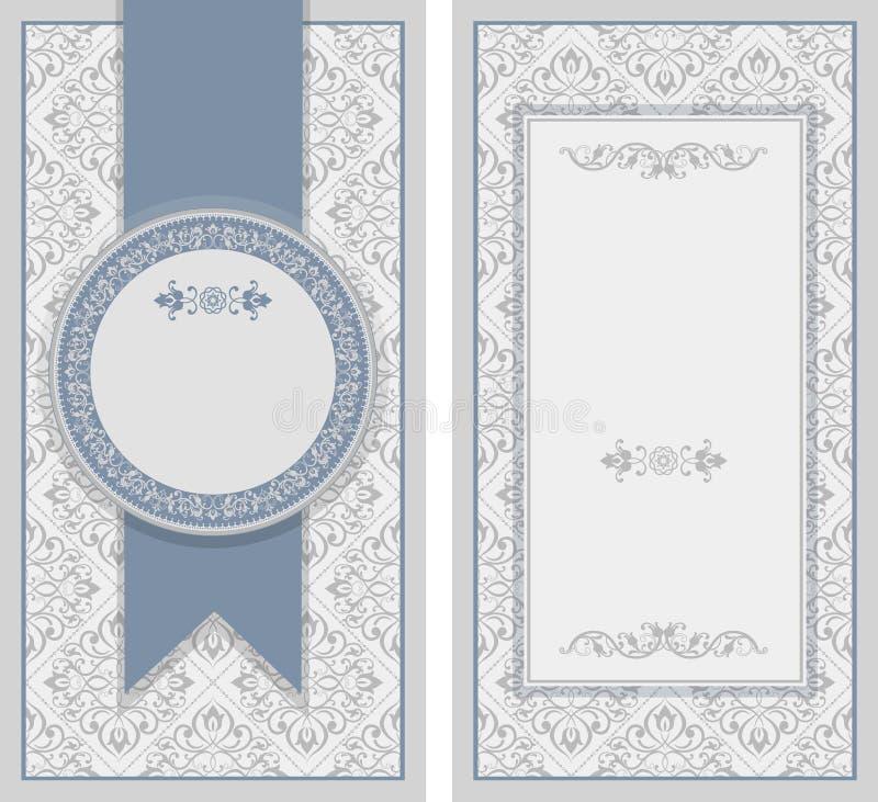Винтажная карточка приглашения с ретро орнаментом шаблон рамки конструкции карточки иллюстрация штока