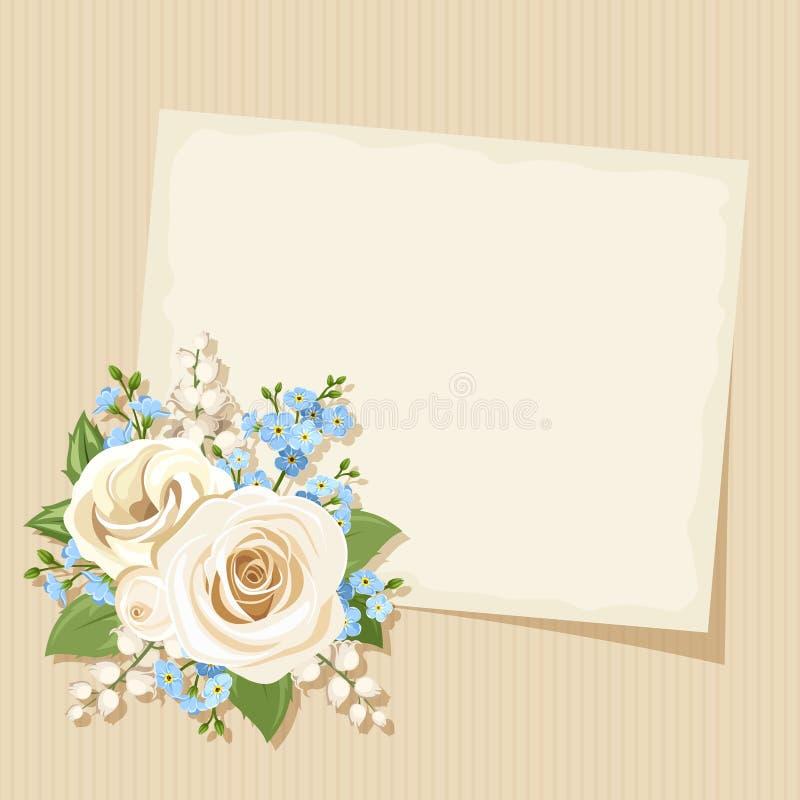 Винтажная карточка с белыми и голубыми цветками Вектор EPS-10 иллюстрация штока