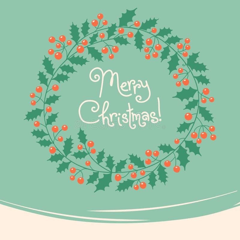 Винтажная карточка с венком рождества бесплатная иллюстрация