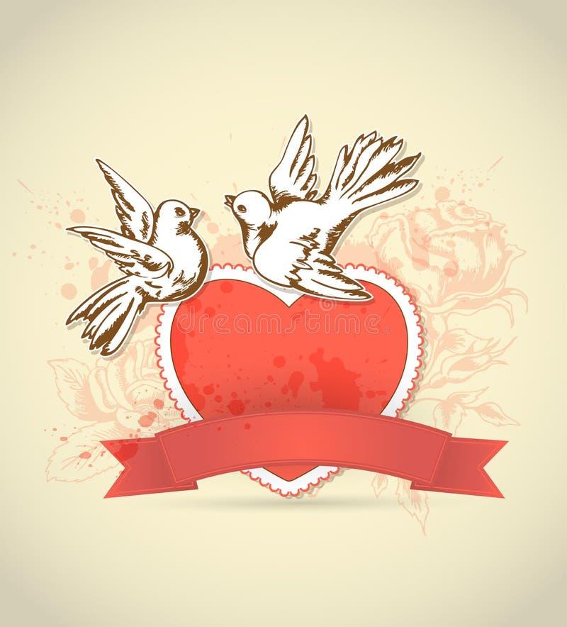 Винтажная карточка с красными сердцем и голубем иллюстрация вектора