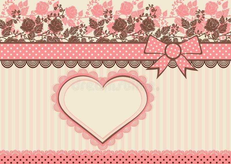Винтажная карточка с поставленными точки лентой и цветками бесплатная иллюстрация