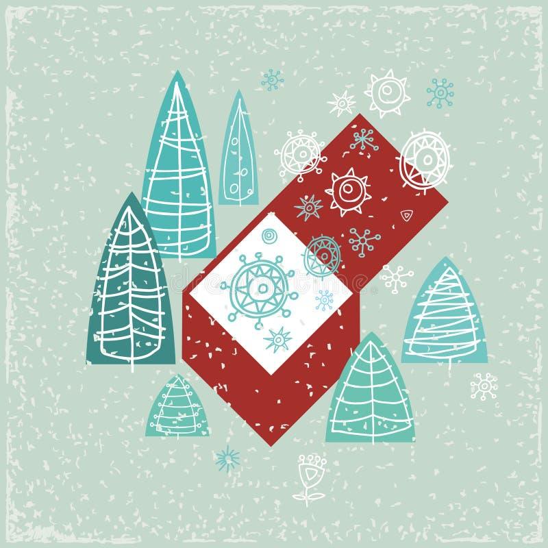 Винтажная карточка с подарочной коробкой, рождественскими елками и бесплатная иллюстрация