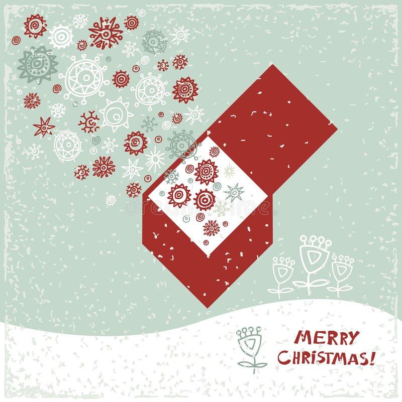 Винтажная карточка с подарочной коробкой, рождественскими елками и иллюстрация вектора