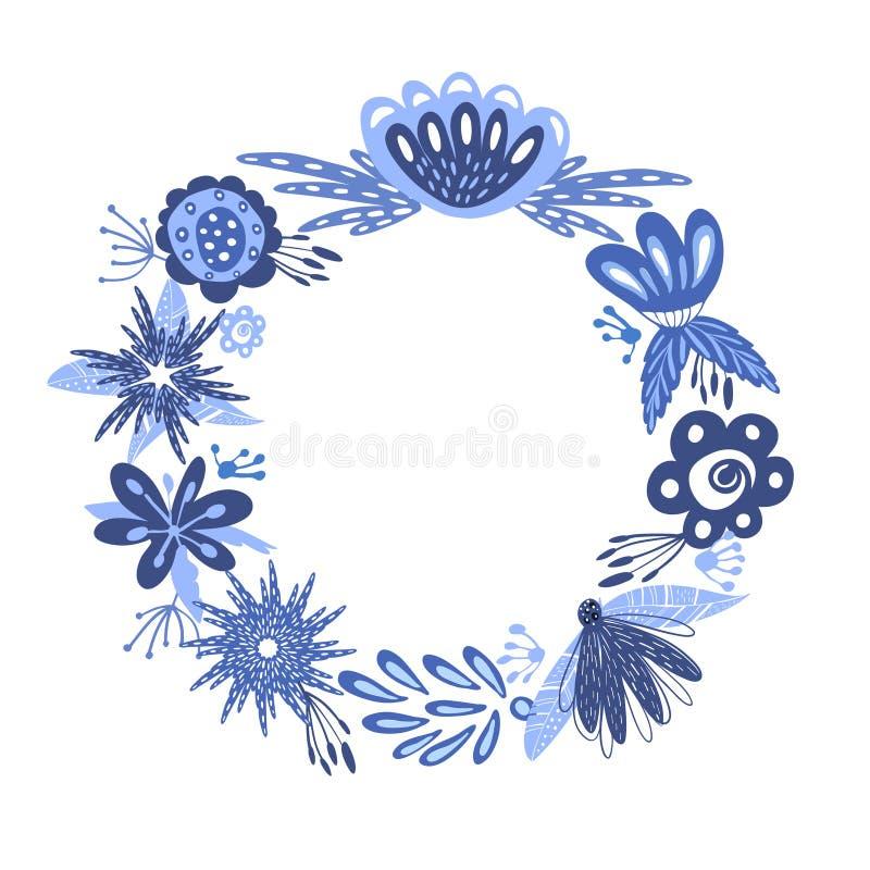 Винтажная карточка с флористическим венком Можно использовать для спасения карточку даты венчание романтичного символа приглашени иллюстрация штока