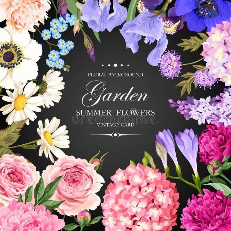 Винтажная карточка с цветками сада бесплатная иллюстрация