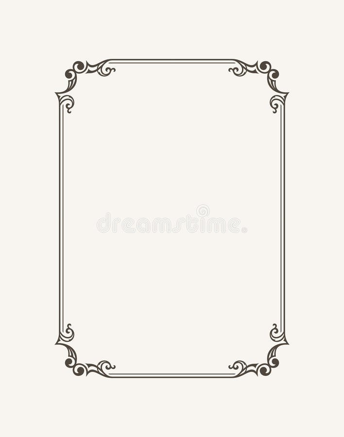 Винтажная каллиграфическая рамка Черно-белая граница приглашения, диплом вектора, сертификат, открытка бесплатная иллюстрация
