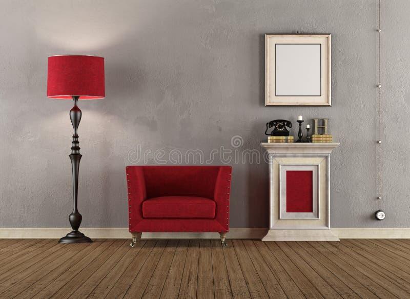 Винтажная комната с красными креслами иллюстрация штока