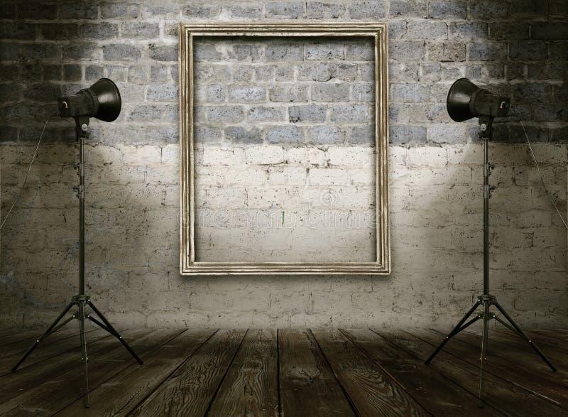 Винтажная комната с ретро рамкой фото стоковые фотографии rf