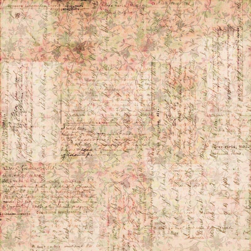 Винтажная коричневая и розовая grungy увяданная затрапезная шикарная абстрактная флористическая предпосылка иллюстрация штока