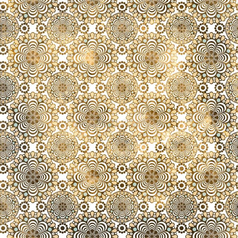 Винтажная коричневая печать орнамента штофа иллюстрация вектора