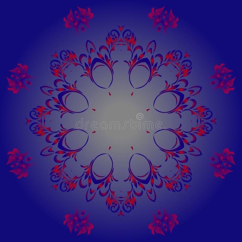 Винтажная красная и голубая картина иллюстрация вектора