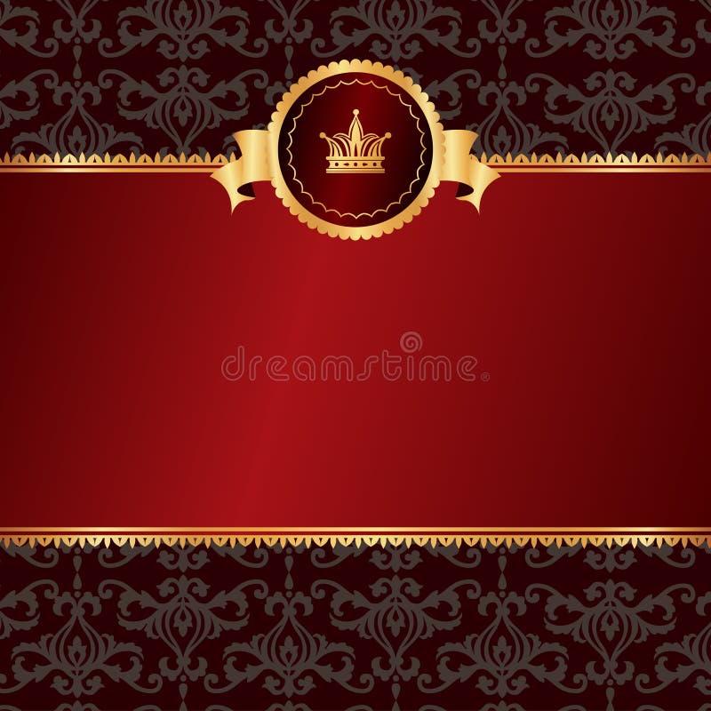 Винтажная красная предпосылка с рамкой золотых elemen иллюстрация штока