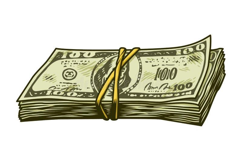 Винтажная красочная концепция стога наличных денег иллюстрация штока