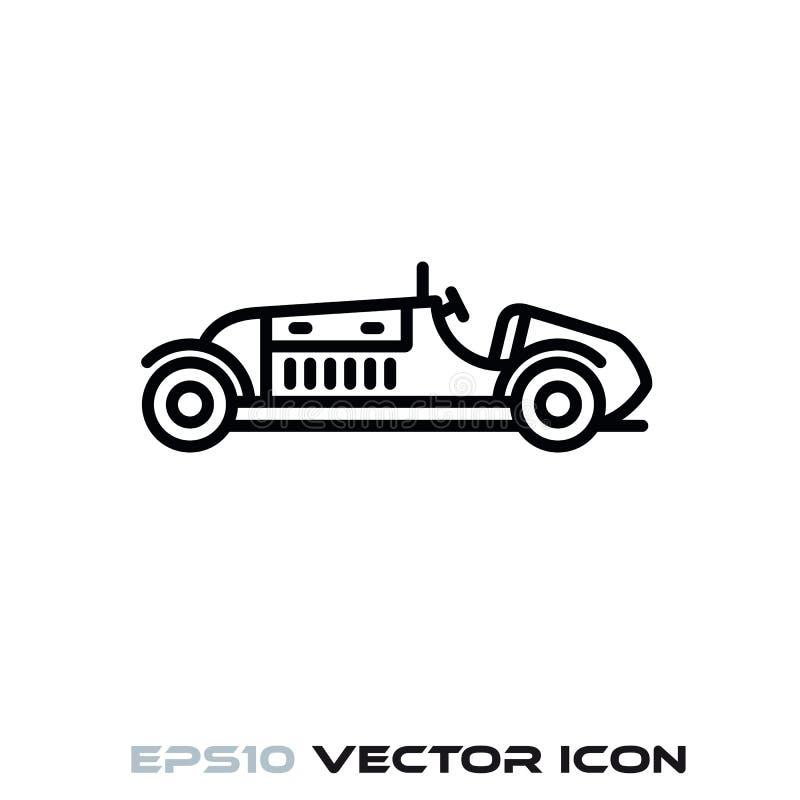 Винтажная линия значок вектора гоночного автомобиля иллюстрация вектора