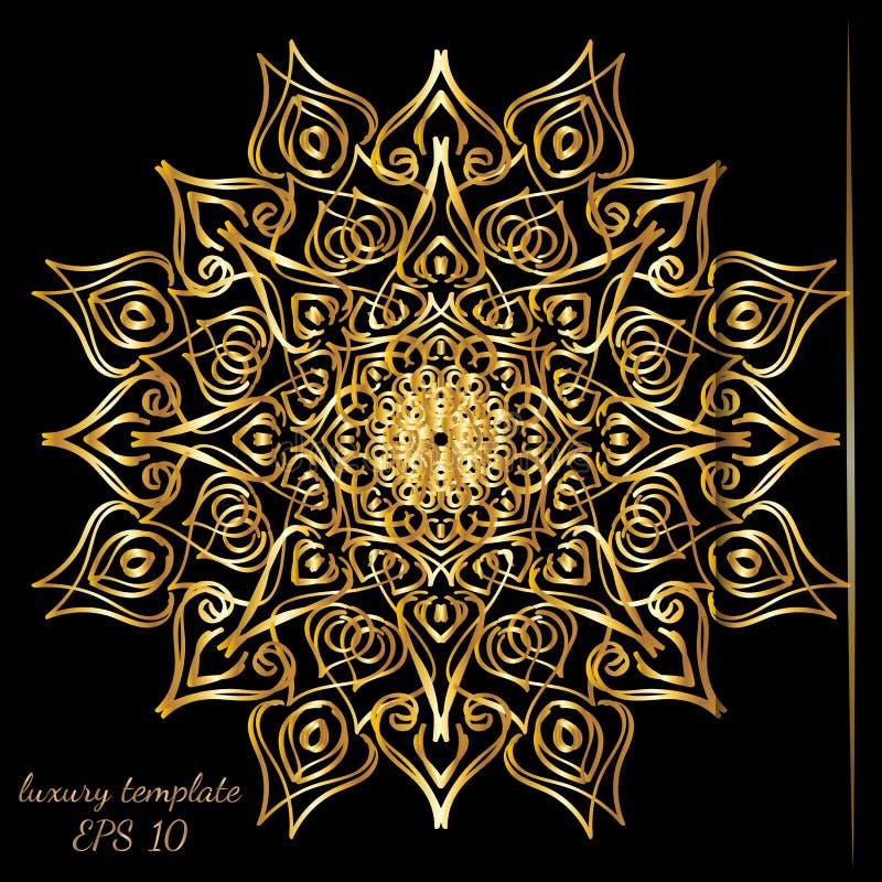 Винтажная линия роскошная предпосылка золота свадьбы, античный, викторианский орнамент, барочная рамка, карта, богато украшенная  иллюстрация штока