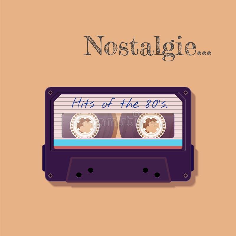 Винтажная магнитофонная кассета Ностальгия 80 ` s ` s 90 Старая технология, реалистический ретро дизайн иллюстрация вектора