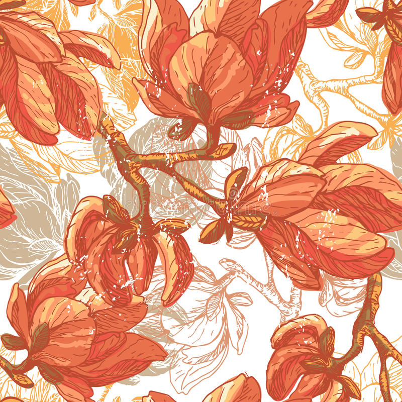 Винтажная магнолия цветет безшовная картина бесплатная иллюстрация