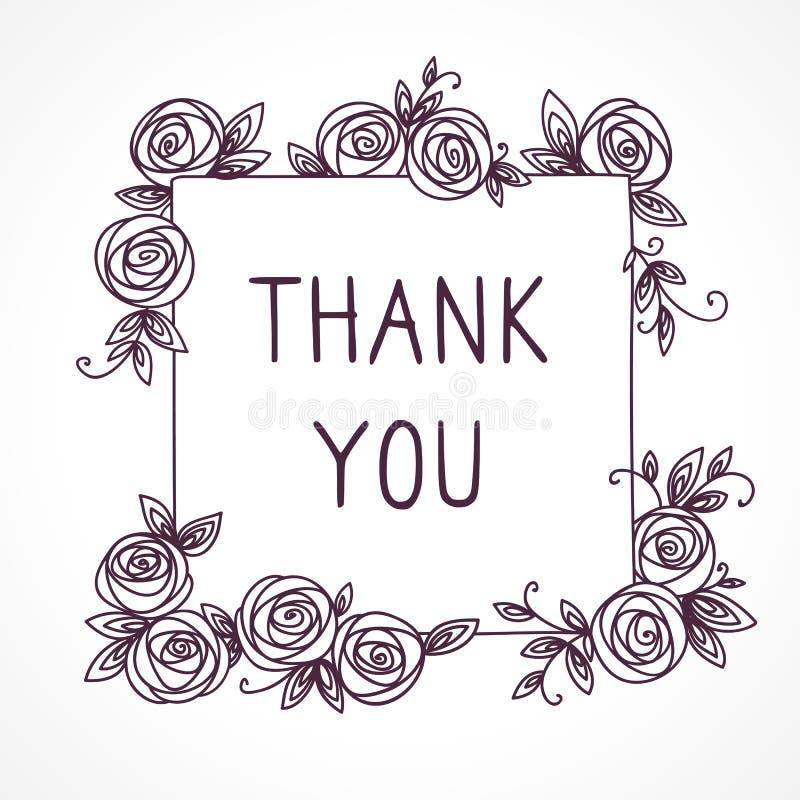 Винтажная милая флористическая рамка карточка благодарит вас n иллюстрация вектора