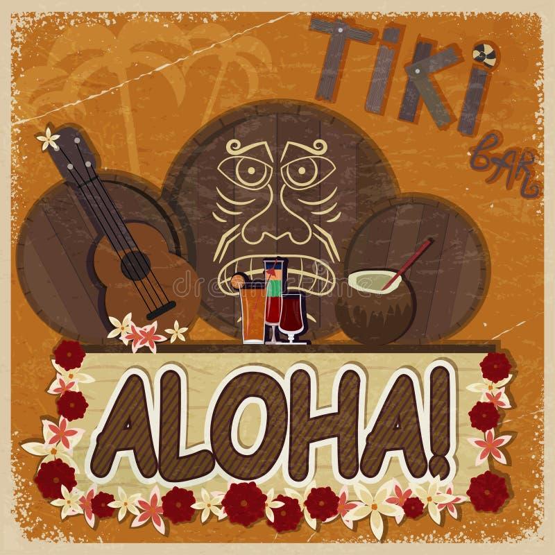 Винтажная оранжевая карточка - бар tiki шильдика - с гавайской гитарой изображения иллюстрация штока