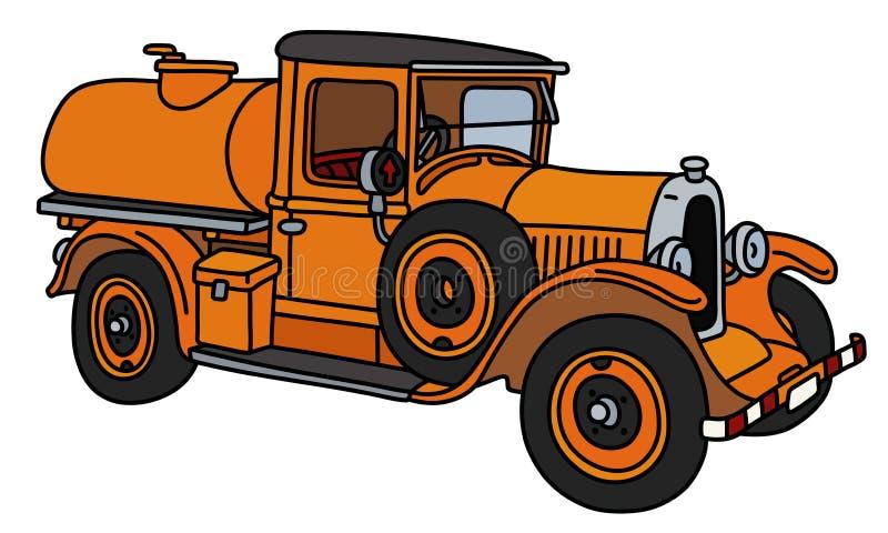 Винтажная оранжевая тележка танка иллюстрация вектора