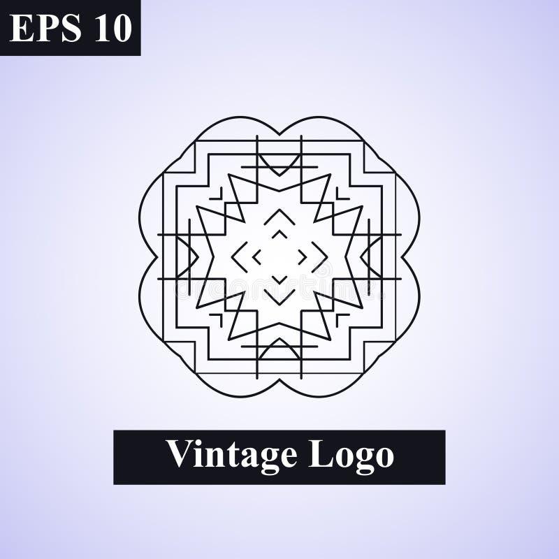 Винтажная орнаментальная исламская эмблема вектор иллюстрации элемента конструкции флористический Символ стиля Арт Деко геометрич иллюстрация штока
