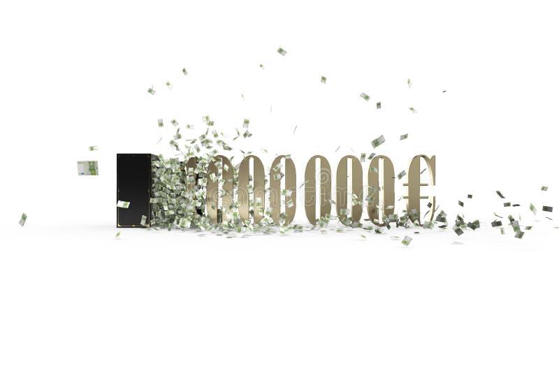 Винтажная лоснистая безопасная и миллион евро иллюстрация вектора