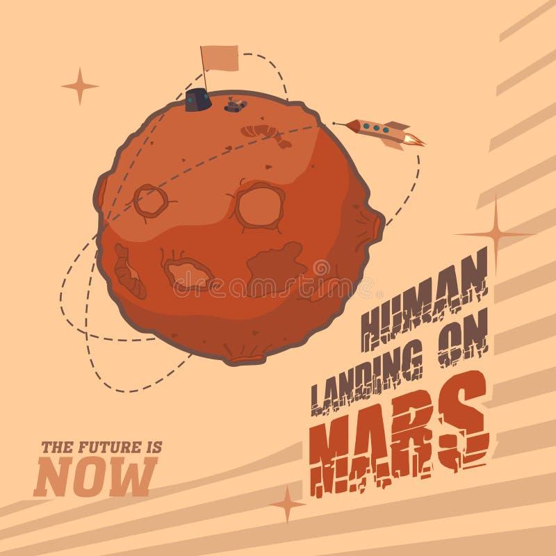 Винтажная открытка космоса человеческой посадки на Марсе иллюстрация вектора