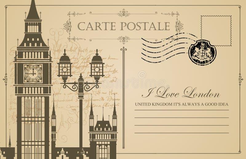 Винтажная открытка с большим Бен в Лондоне бесплатная иллюстрация