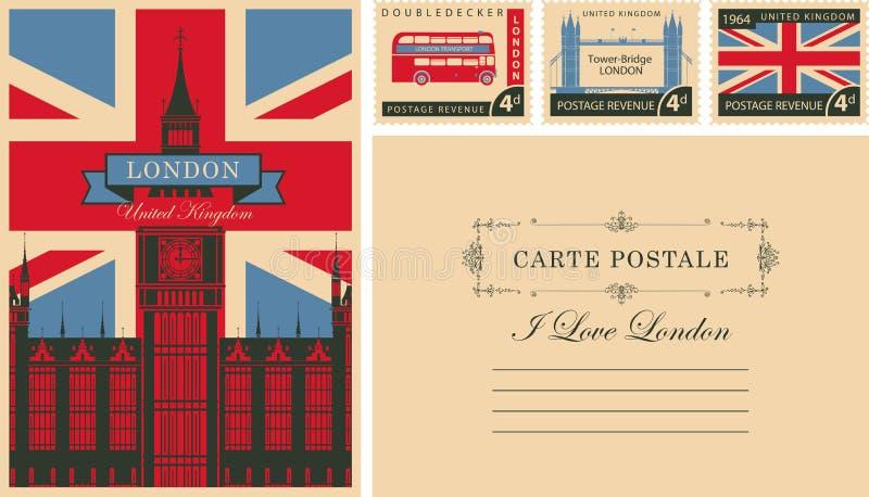 Винтажная открытка с большим Бен и Великобритания сигнализируют иллюстрация вектора