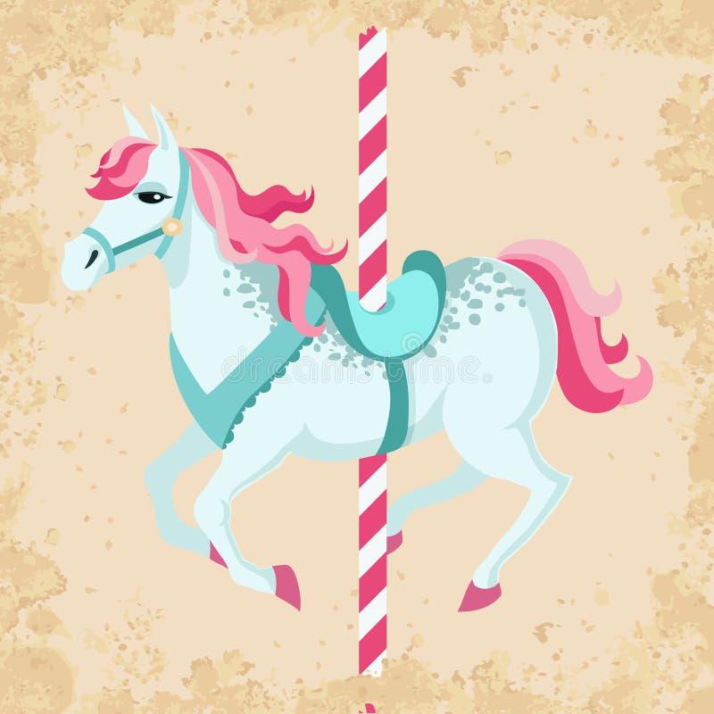Винтажная лошадь carousel иллюстрация вектора