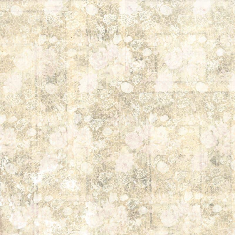 Винтажная пастельная grungy предпосылка цветка и деревянных зерна конструирует иллюстрация вектора